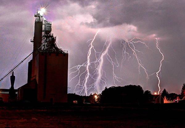 Photograph - Lightening Strikes Over Elevator by David Matthews