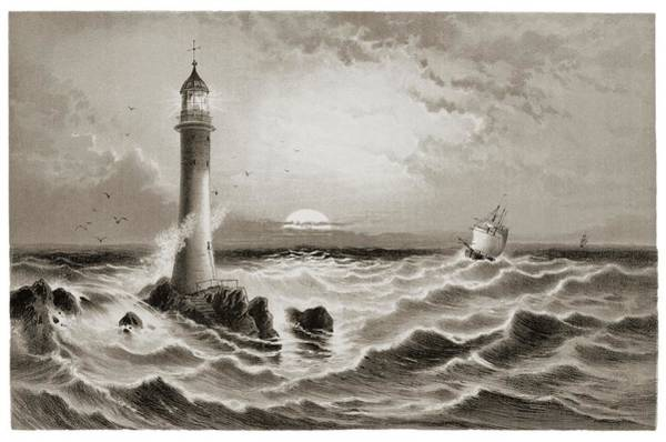 Fresnel Lens Wall Art - Photograph - Lighthouse And Approaching Sailing Ship. by David Parker/science Photo Library