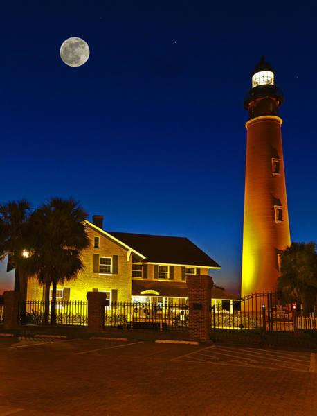 Saint Augustine Beach Wall Art - Photograph - Lighthouse And Moon by Alex Mironyuk