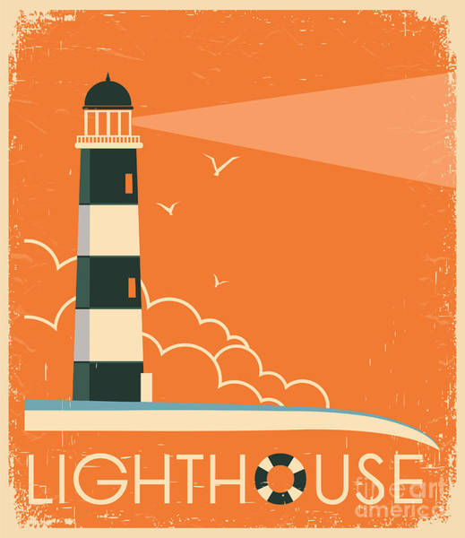 Wall Art - Digital Art - Lighthouse And Sky On Old Poster by Tancha