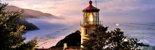 Heceta Head Lighthouse Photograph - Lighthouse At A Coast, Heceta Head by Panoramic Images