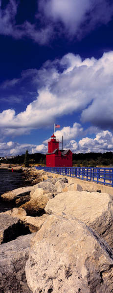 Big Red Photograph - Lighthouse At The Coast, Big Red by Panoramic Images