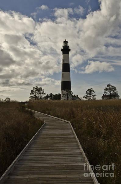 Roanoke Marshes Light Wall Art - Photograph - Lighthouse Boardwalk by Debra Johnson