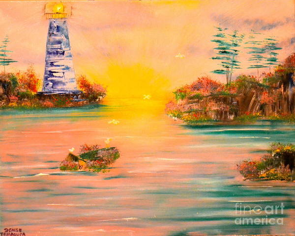 Painting - Lighthouse For Mom by Denise Tomasura