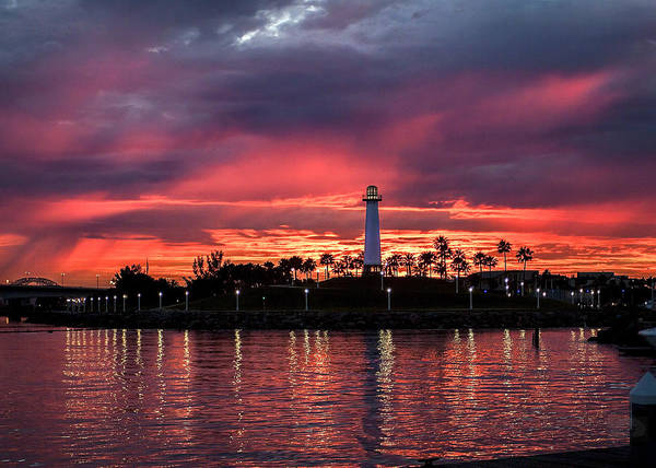 Photograph - Lighthouse In A Fire Sky For Sale Version By Denise Dube by Denise Dube