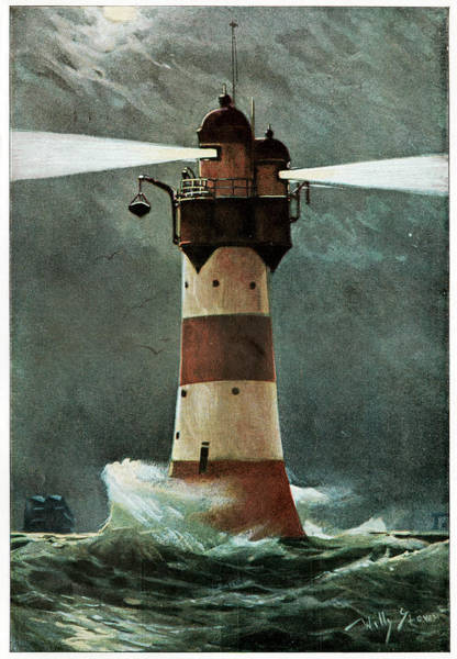 Beam Of Light Photograph - Lighthouse In A Storm by Cci Archives