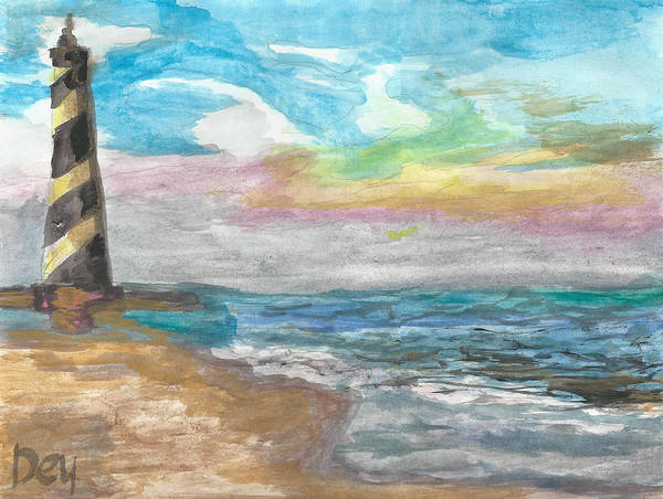 Painting - Lighthouse In The Day by Janelle Dey