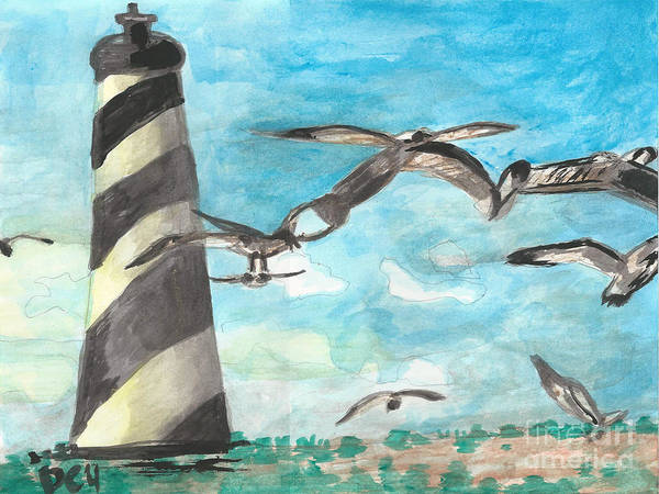 Painting - Lighthouse  By Janelle Dey by Janelle Dey