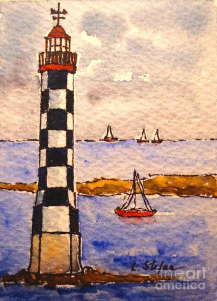 Painting - Lighthouse La Perdrix - France by Cristina Stefan