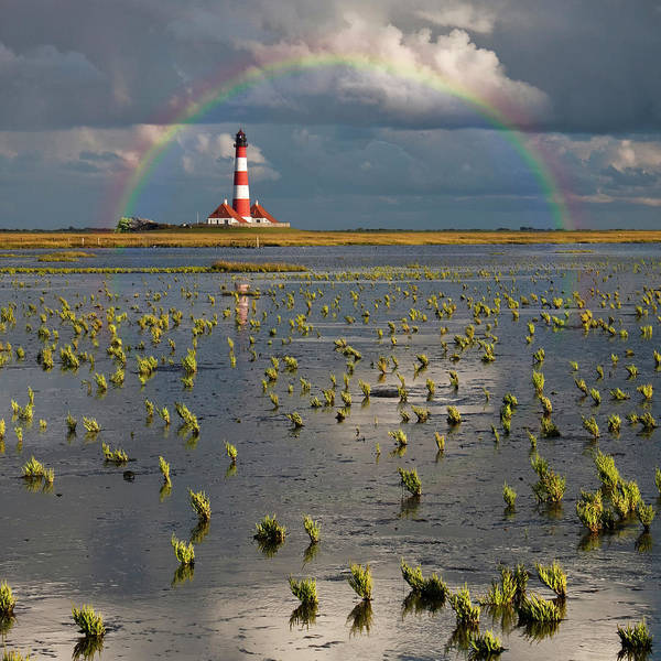 Square Wall Art - Photograph - Lighthouse Meets Rainbow by Carsten Meyerdierks