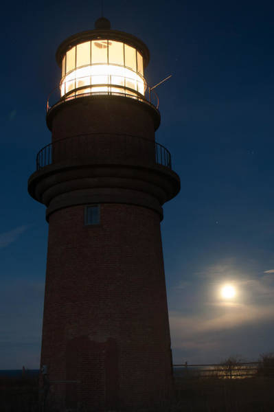 Photograph - Lighthouse Moon by Steve Myrick