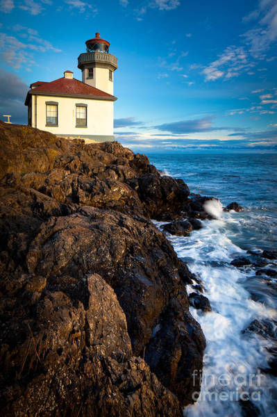 North Coast Harbor Photograph - Lighthouse On Bluff by Inge Johnsson