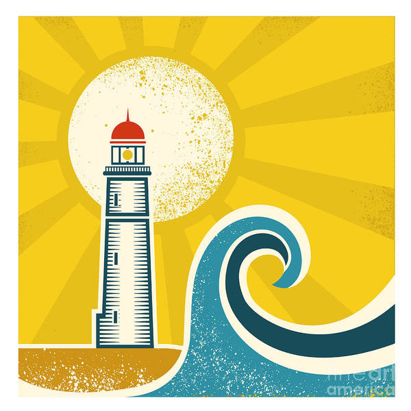 Wall Art - Digital Art - Lighthouse Poster.vector Vintage by Tancha