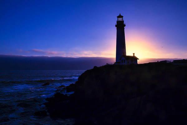 Coast Guard House Photograph - Lighthouse Setting Sun by Garry Gay