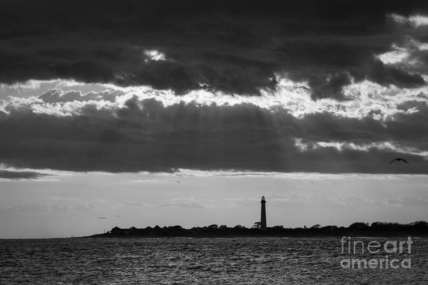 Cape May Lighthouse Photograph - Lighthouse Sun Rays Bw by Michael Ver Sprill
