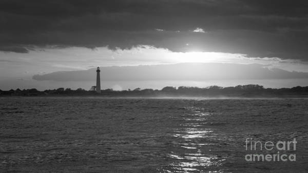 Cape May Lighthouse Photograph - Lighthouse Sun Reflections Bw by Michael Ver Sprill
