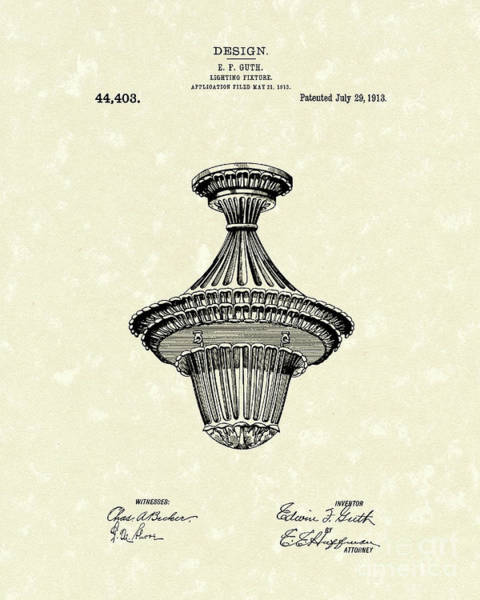 Wall Art - Drawing - Lighting Fixture 1914 Patent Art by Prior Art Design