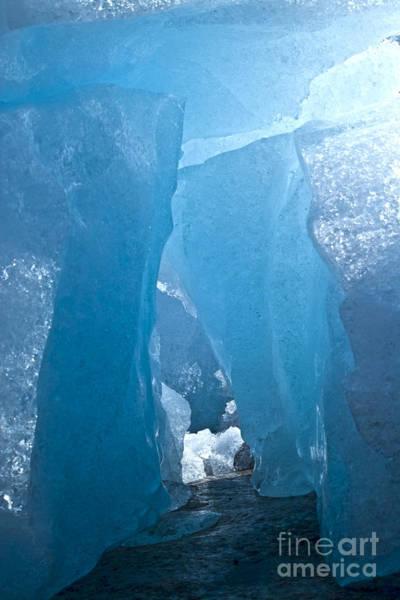 Photograph - Lighting In Nigardsbreen Glacier Grotto 1 by Heiko Koehrer-Wagner