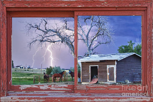 Photograph - Lightning And Horses Lightning Strikes Red Picture Window Frame  Art by James BO Insogna