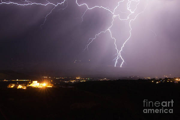 Photograph - Lightning And The Douglas Mansion In Jerome Arizona by Ron Chilston