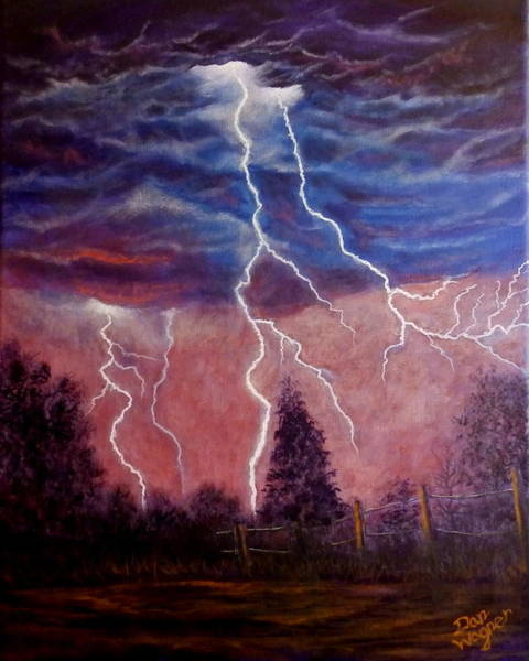 Painting - Lightning And Thunder Storm by Dan Wagner