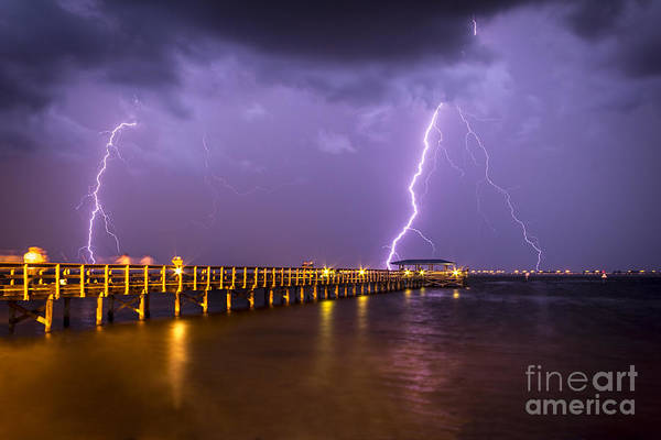 Wall Art - Photograph - Lightning At The Pier by Marvin Spates