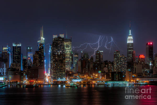 Photograph - Lightning Over New York City IIi by Clarence Holmes