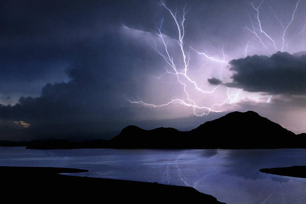 Lightning Over Quartz Mountains - Oklahoma Art Print