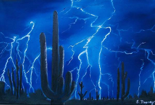 Electric Blues Painting - Lightning  Over The Sonoran by Sharon Duguay
