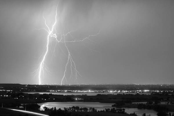 Photograph - Lightning Strike Boulder Reservoir And Coot Lake Bw by James BO Insogna