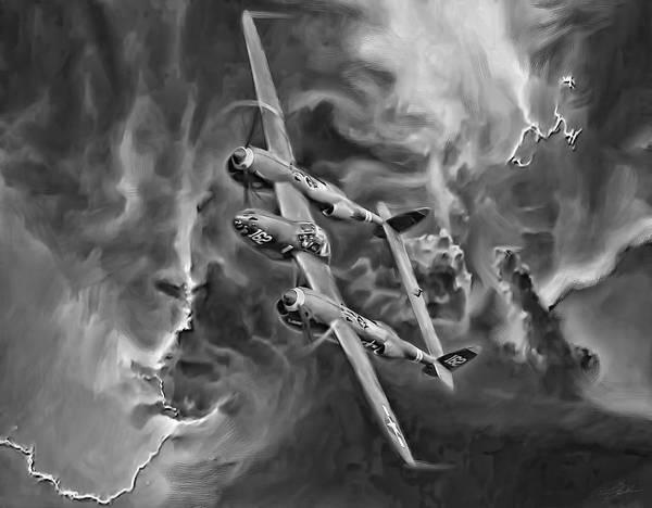 Wall Art - Digital Art - Lightning Strike-bw by Peter Chilelli