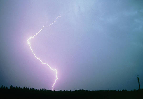 Electric Storm Photograph - Lightning Strike by Pekka Parviainen/science Photo Library