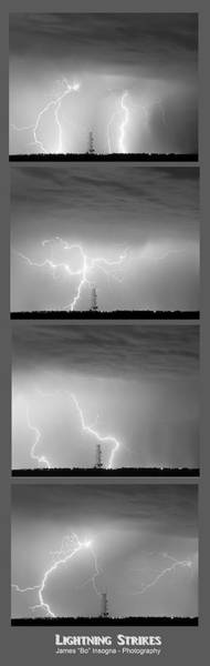 Photograph - Lightning Strikes 4 Image Vertical Progression  by James BO Insogna