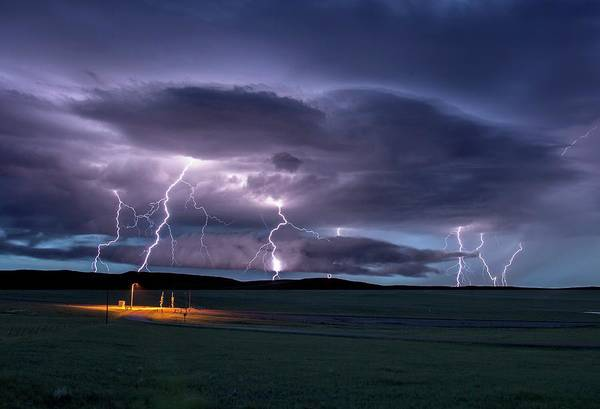 Electrical Field Wall Art - Photograph - Lightning Strikes by Roger Hill