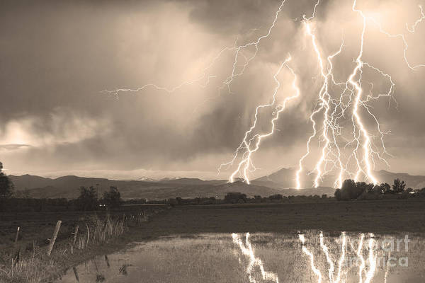 Photograph - Lightning Striking Longs Peak Foothills Sepia 4 by James BO Insogna