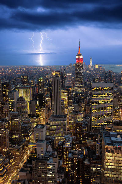 Threat Photograph - Lightning Striking Over Manhattan by Mike Hill