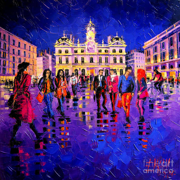 Red White And Blue Painting - Lights And Colors In Terreaux Square by Mona Edulesco