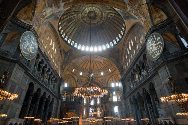 Hagia Sophia Photograph - Lights And Windows In Ornate Cathedral by Henglein And Steets