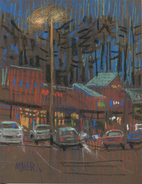 Shopping Painting - Lights Come On by Donald Maier