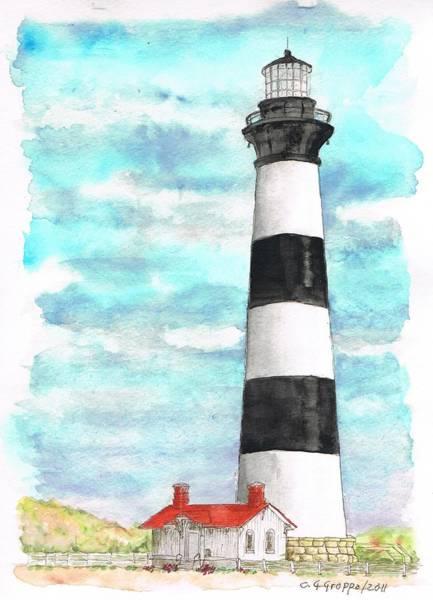 Bodie Painting - Ligthhouse Bodie Island, North Carolina by Carlos G Groppa