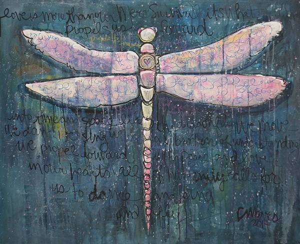 Painting - Like The Dragonfly Love Propels Us Forward by Laurie Maves ART