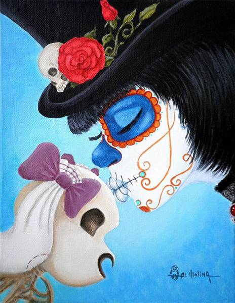 Wall Art - Painting - Lil' Bella Loves Her Bones by Al  Molina