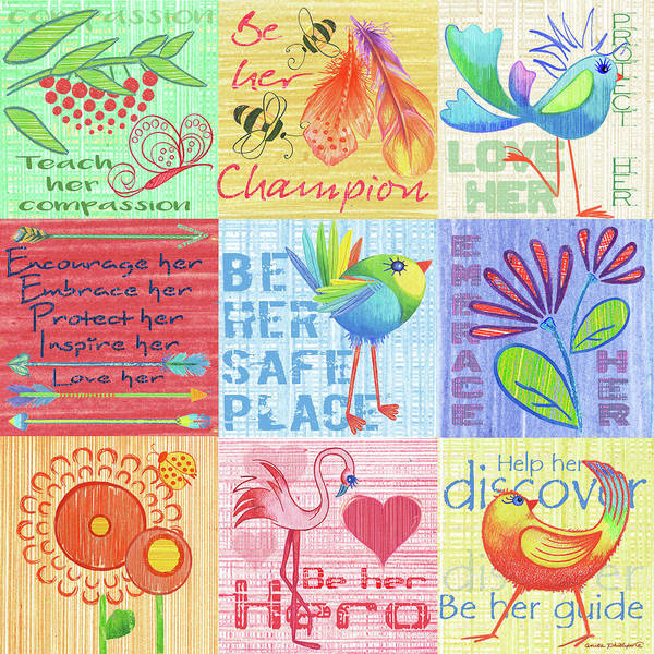 Wall Art - Painting - Lil Birds 9 Patch by Anita Phillips