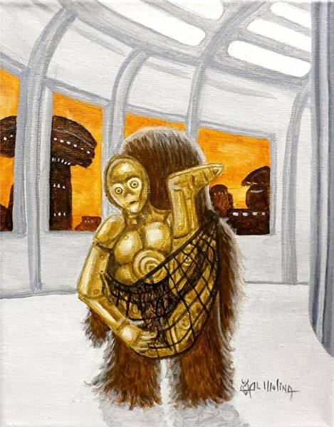 Wall Art - Painting - Lil Chewie Helps C3po by Al  Molina