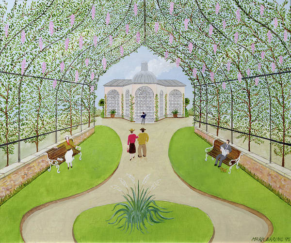 Conservatory Photograph - Lilac Arbour Oil On Board by Mark Baring