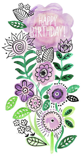 Wall Art - Painting - Lilac Green Fineliner Floral Happy Birthday Placement by MGL Meiklejohn Graphics Licensing