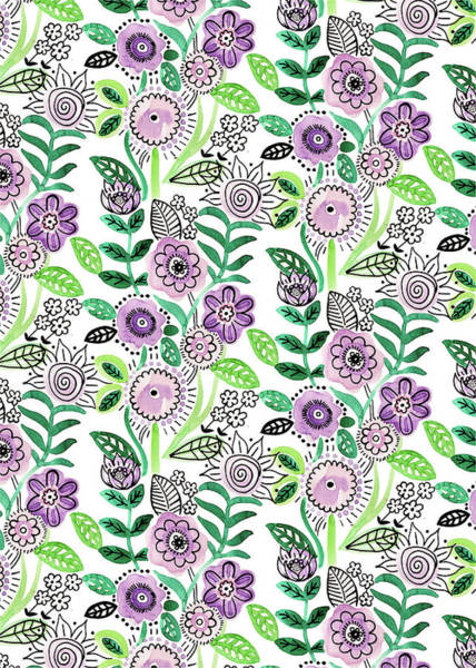 Wall Art - Painting - Lilac Green Fineliner Floral Repeat One White by MGL Meiklejohn Graphics Licensing