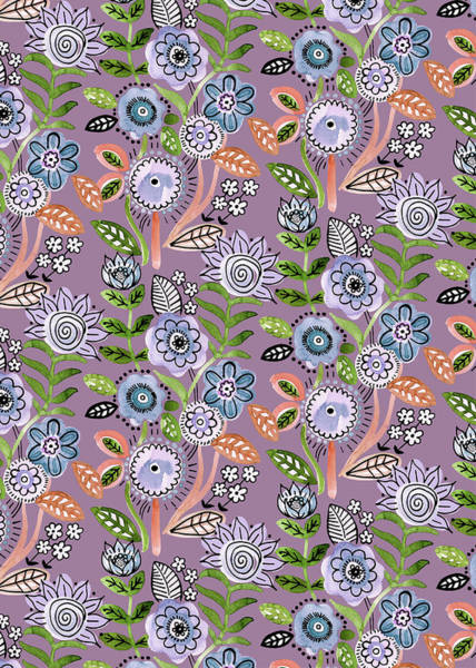 Wall Art - Painting - Lilac Green Fineliner Floral Repeat Two Purple by MGL Meiklejohn Graphics Licensing