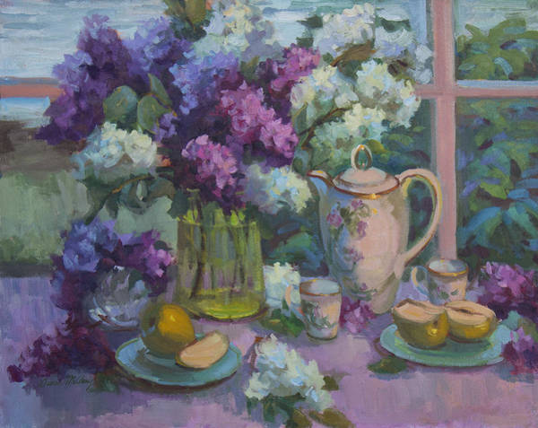 Tea Pot Wall Art - Painting - Lilacs And Tea by Diane McClary
