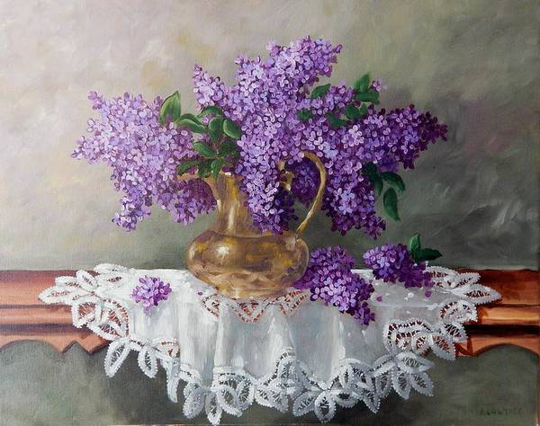 Doily Painting - Lilacs In Brass by Anna Lowther